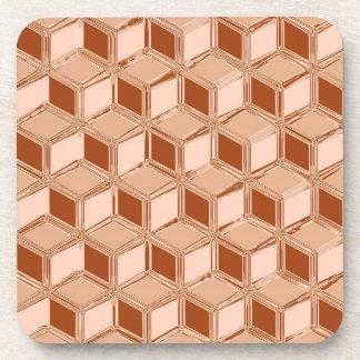 Cajas tridimensionales del cromo - cobre coloreado posavaso