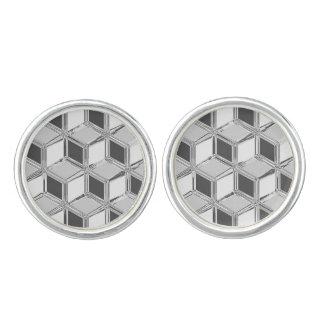 Cajas tridimensionales del cromo - gris de plata mancuernillas