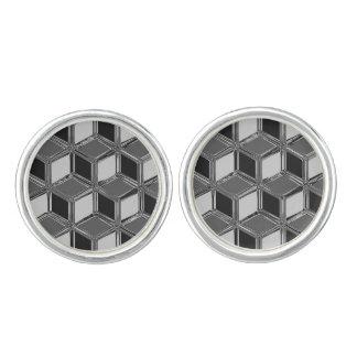 Cajas tridimensionales del cromo - gris del gemelos
