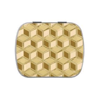Cajas tridimensionales del cromo - oro coloreado latas de caramelos