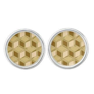 Cajas tridimensionales del cromo - oro coloreado mancuernillas