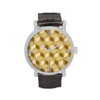Cajas tridimensionales del cromo - oro coloreado relojes