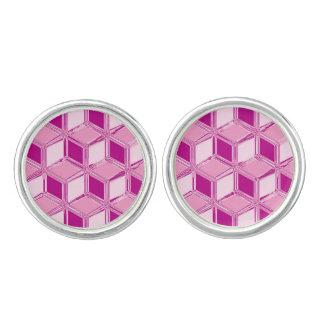 Cajas tridimensionales del cromo - rosa del fucsia mancuernillas
