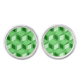 Cajas tridimensionales del cromo - verde esmeralda gemelos