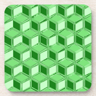 Cajas tridimensionales del cromo - verde esmeralda posavasos