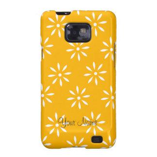 Cajas y pieles de las flores amarillas y blancas d samsung galaxy s2 funda