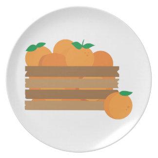 Cajón anaranjado platos para fiestas