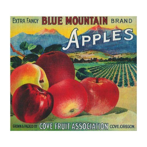 Cajón azul LabelCove de Apple de la montaña, O Impresión De Lienzo