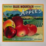 Cajón azul LabelCove de Apple de la montaña, O Posters