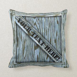 Cajón de la abrazo - madera azul - con el texto cojin