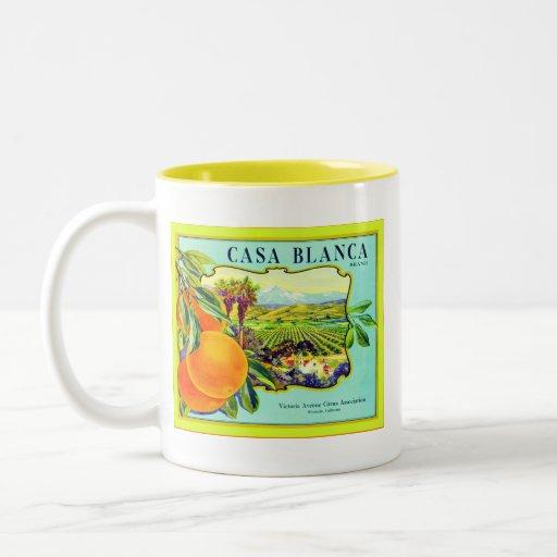 Cajón de la fruta del vintage del ~ de los naranja taza dos tonos