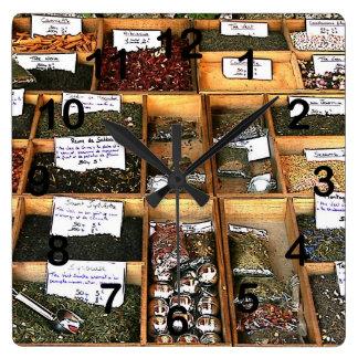 Cajón de las especias y de las hierbas de Cookng Reloj Cuadrado