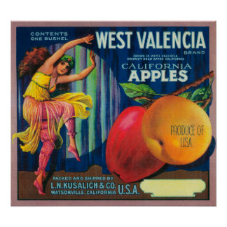 Cajón del oeste LabelWatsonville, CA de Valencia A Póster