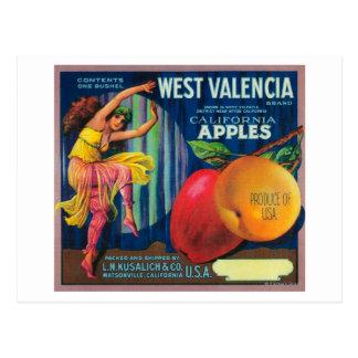 Cajón del oeste LabelWatsonville, CA de Valencia Tarjeta Postal