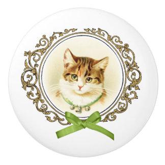Cajón del retrato del gato del vintage o botón pomo de cerámica