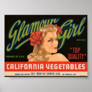 Cajón L del vintage de las verduras de California  Poster
