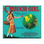 Cajón LabelElgin de Apple del chica de Oregon, O Impresion De Lienzo