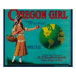 Cajón LabelElgin de Apple del chica de Oregon, O Póster