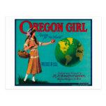 Cajón LabelElgin de Apple del chica de Oregon, O Tarjeta Postal