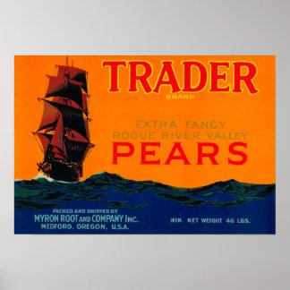 Cajón LabelMedford de la pera del comerciante, O Poster