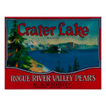 Cajón LabelMedford de la pera del lago crater, O Posters