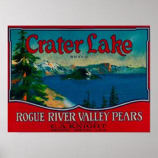 Cajón LabelMedford de la pera del lago crater, O Póster