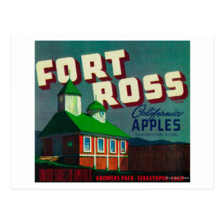 Cajón LabelSebastopol, CA de Ross Apple del fuerte Postales