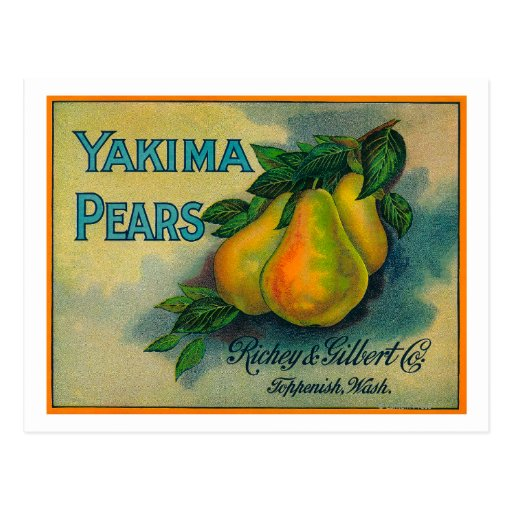 Cajón LabelToppenish, WA de las peras de Yakima Tarjetas Postales