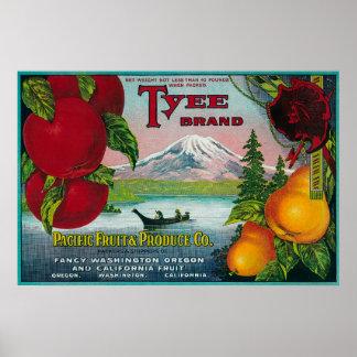 Cajón LabelWA de la pera de Tyee, O, y CA Impresiones