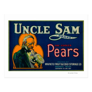 Cajón LabelWapato WA de la pera del tío Sam Tarjetas Postales