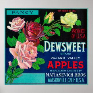 Cajón LabelWatsonville, CA de Dewsweet Apple Póster