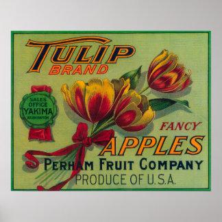 Cajón LabelYakima, WA de Apple del tulipán Posters