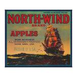 Cajón LabelYakima, WA de Apple del viento del nort Impresiones En Lienzo Estiradas