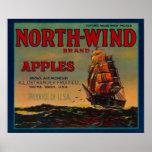 Cajón LabelYakima, WA de Apple del viento del nort Poster
