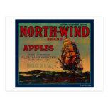 Cajón LabelYakima, WA de Apple del viento del nort Tarjetas Postales