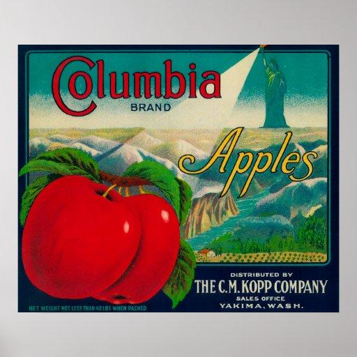 Cajón LabelYakima, WA de Columbia Apple Impresiones