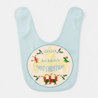 Cajun Baby Boy First Christmas Baby Bib
