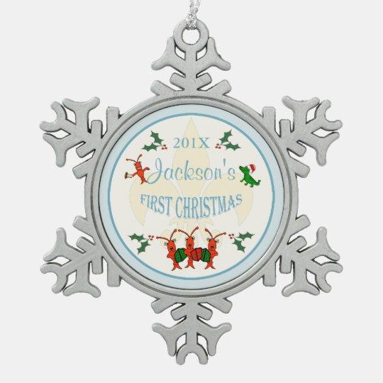 cajun baby boy first christmas keepsake snowflake pewter christmas ornament - Baby Boy First Christmas Ornament