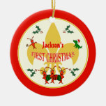 Cajun Baby First Christmas Red Border Christmas Ornaments