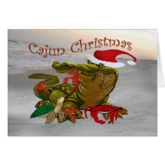 Cajun Christmas Santa Gator greeting cards