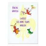 Cajun Crawfish and Alligator Fleur de Lis Party 5x7 Paper Invitation Card