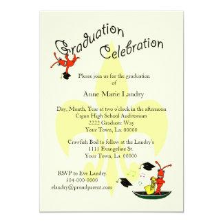 Cajun Crawfish Fleur de Lis Graduation Invitation