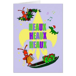 Cajun Crawfish Fleur de Lys Christmas Card