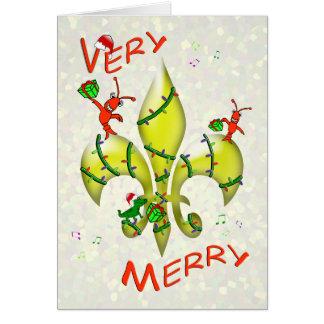 Cajun Crawfish Fleur de Lys Very Merry Christmas Card