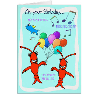 Cajun Crawfish Happy Birthday Card