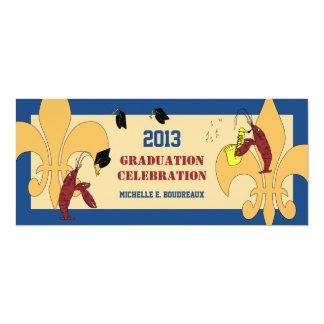 "Cajun Crawfish Jazz Graduation Party 4"" X 9.25"" Invitation Card"