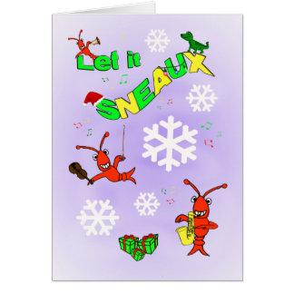 Cajun Crawfish Let it Sneaux Christmas Card