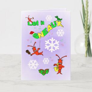 Cajun christmas cards zazzle cajun crawfish let it sneaux christmas holiday card m4hsunfo