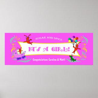 Cajun Critters Baby Girl Banner Poster