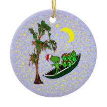 Cajun Santa Alligator Christmas Ornament